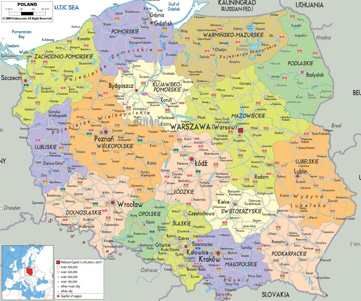 Karte Von Europa Mit Städten.Karte Von Polen Mit Städten Karte Von Polen Mit Städten In