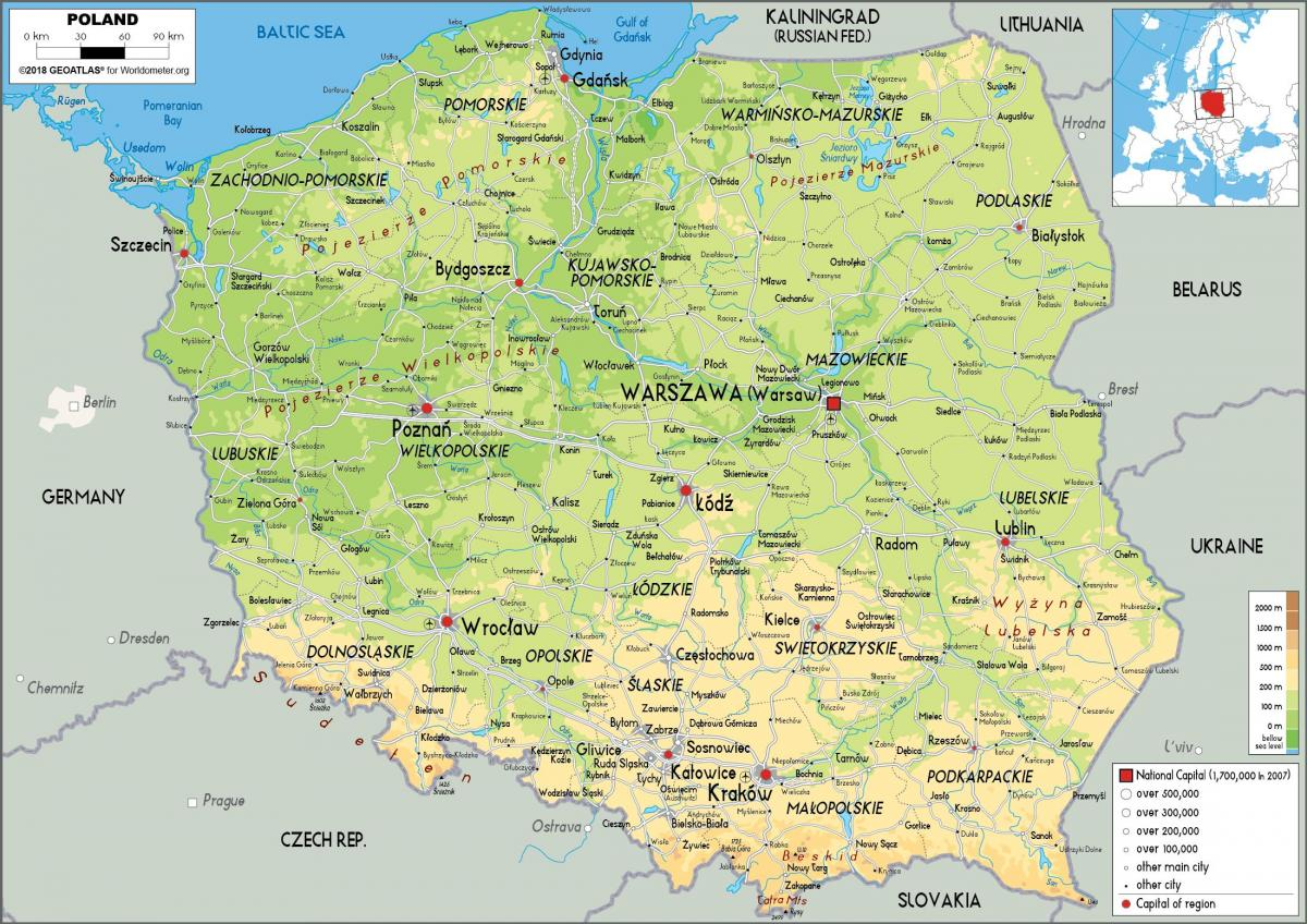 Polen Karte.Physische Karte Von Polen Landkarte Polen Physcal Ost Europa